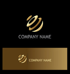 Round sphere technology gold logo vector