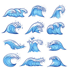 sea waves set blue marine and ocean nature vector image