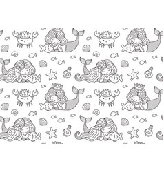 Seamless pattern with little lying mermaid big vector