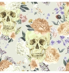 Seamless pattern with skull and flowers vector