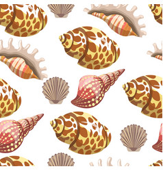 seashell and conches sea and ocean seamless vector image