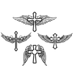 Set cross with wings vector