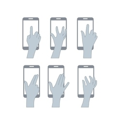 set hands user touch screen vector image