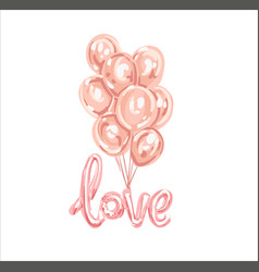 Set of pink white transparent balloon isolated in vector