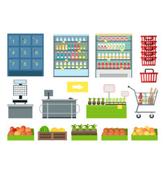 set of supermarket furniture and equipment vector image