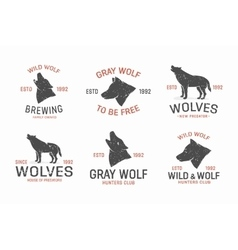 Set of vintage wolf logo and label design elements vector