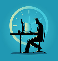 Silhouette of a man working overtime vector