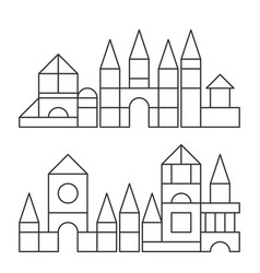 Simple line style blocks toy towers for coloring vector