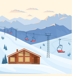 Ski resort with red chair lift house chalet vector