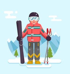 skier mountain winter mountains vacation skiing vector image