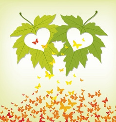 Spring leaves with hearts and butterflies colorful vector