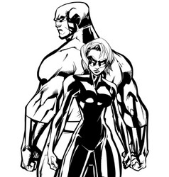 superhero couple back to back no capes line art vector image