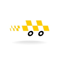 Taxi logo Checkers symbol Moving dynamic auto car vector