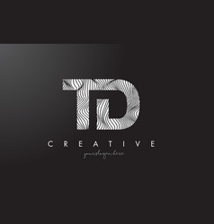 Td t d letter logo with zebra lines texture vector