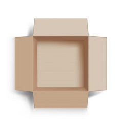 template empty open cardboard box top view vector image