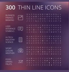 Thin line icons for business technology vector