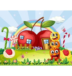 Three monsters in front apple house vector