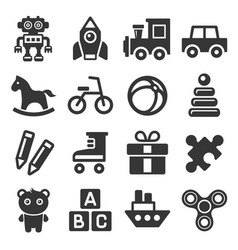 Toys icons set on white background vector