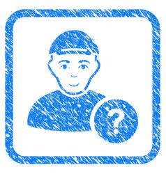 User status question framed stamp vector