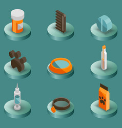 Vet pharmacy color isometric icons vector