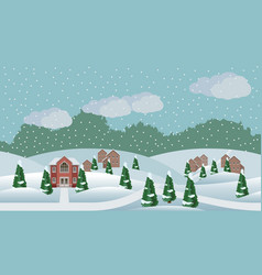 village winter christmas landscape scene vector image