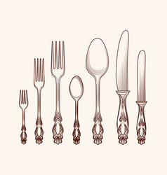 Vintage kitchen cutlery objects sketch vector