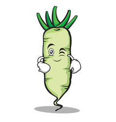 Wink face white radish cartoon character vector