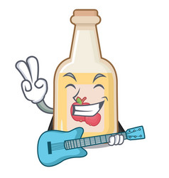With guitar apple cider in character shape vector