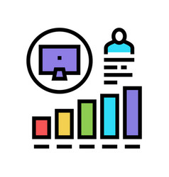Worker growing indicators color icon vector