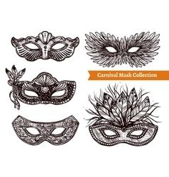 Carnival Mask Hand Drawn Set vector image vector image