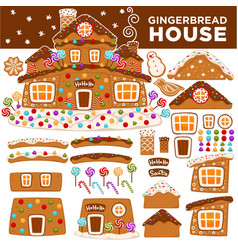 christmas gingerbread house constructor cartoon vector image