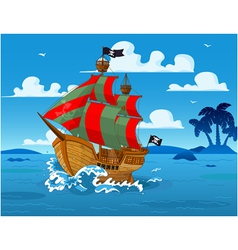 Pirate ship at sea vector image vector image