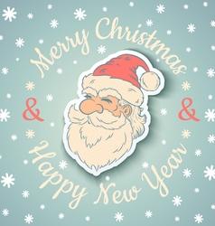 Santa vintage and snow vector image vector image