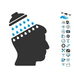 Brain Shower Icon With Air Drone Tools Bonus vector image vector image