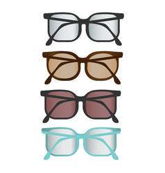 colorful flat glasses set vector image
