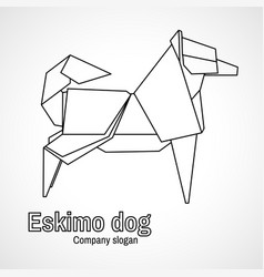 outline origami dog vector image vector image