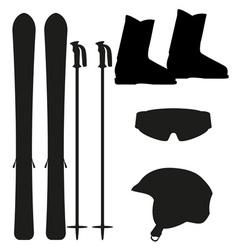 ski equipment icon set silhouette vector image