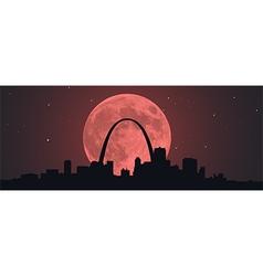 Blood Super Moon Over STL vector image