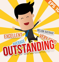 Business man with an evaluation score - - E vector image