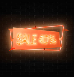 neon holiday sale sign in geometric frame in vector image