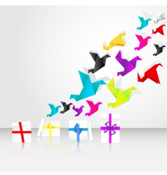 origami birds start to fly from a box vector image vector image