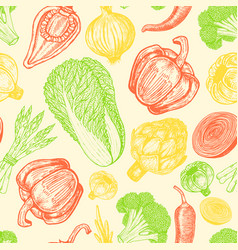 seamless pattern with set of hand drawn elements vector image