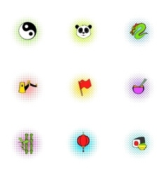 Tourism in China icons set pop-art style vector image vector image