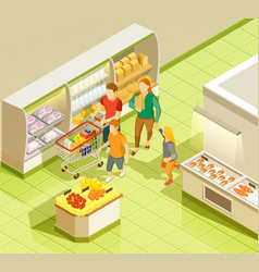 family grocery shopping supermarket isometric view vector image vector image