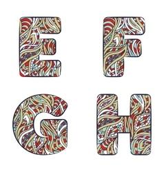 Letters E F G H Set colorful alphabet of vector image