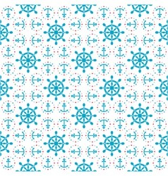seamless sea pattern with anchors hand wheels vector image