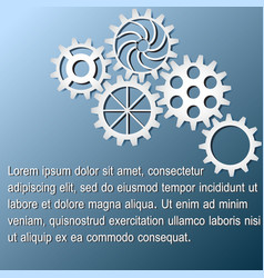 white gears infographics on dark blue background vector image