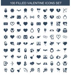 100 valentine icons vector