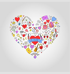abstract colorful heart with valentines day doodle vector image