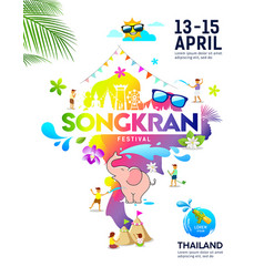 amazing songkran festival ideas map thailand vector image